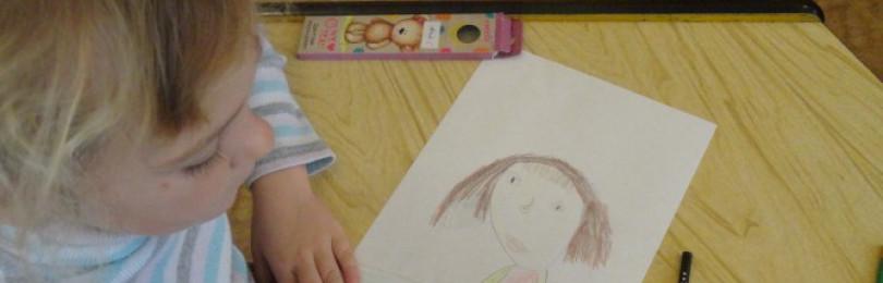 Рисование портрета мамы в старших группах ДОУ пошагово