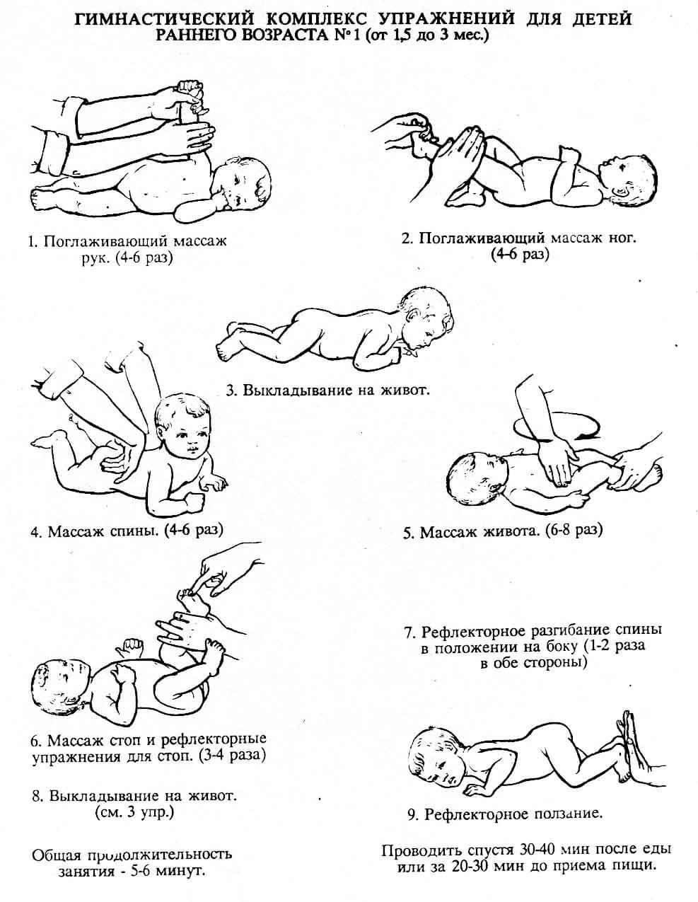 Упражнения для малышей 1,5 - 3 месяца