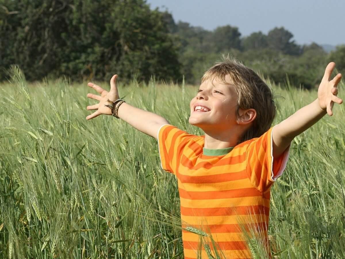 Патриотическое воспитание. Мальчик в поле