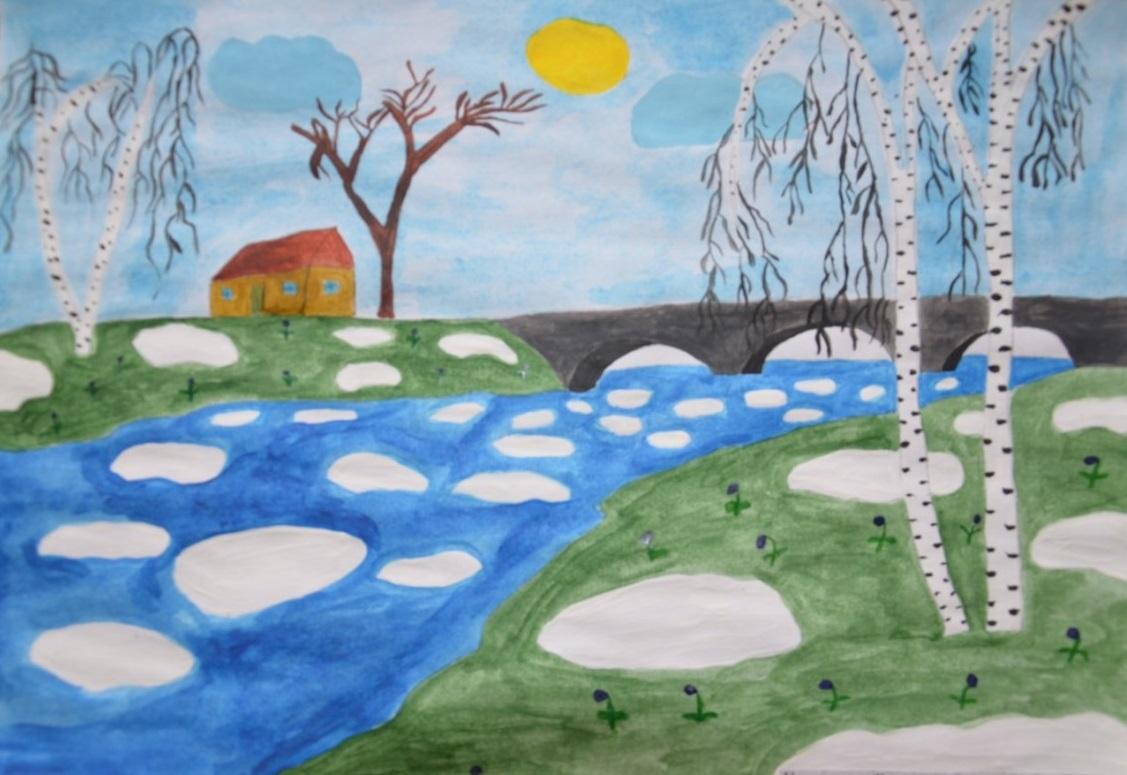 нарисовать рисунок на тему весна вот нашёл его