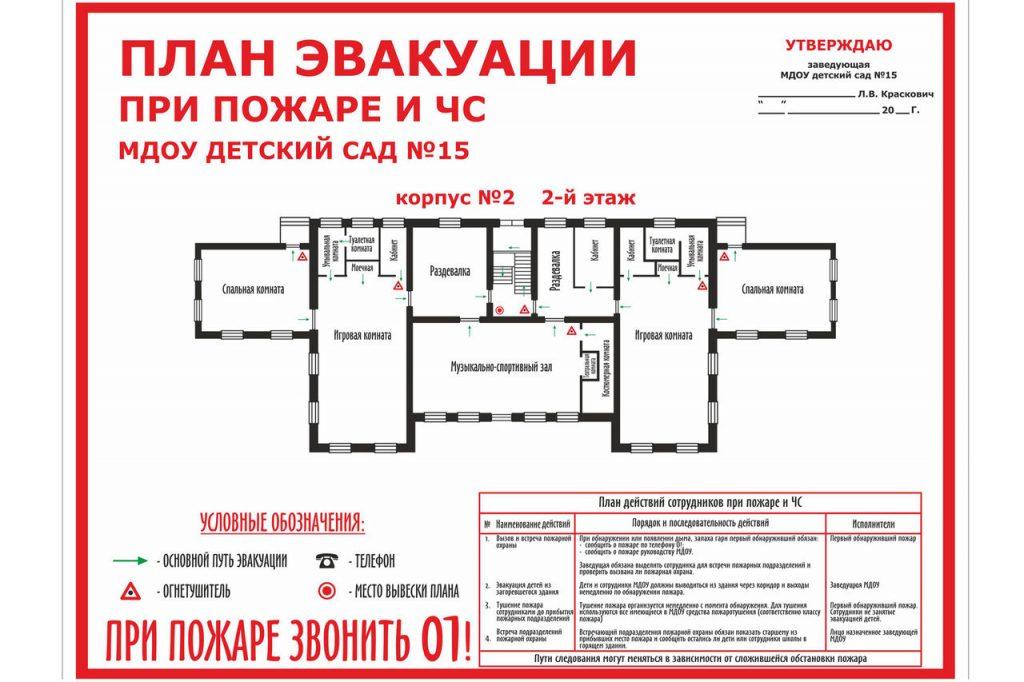План эвакуации при пожаре и ЧС в ДОУ