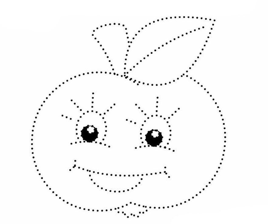 Рисование по точкам яблока для дошкольников в детском саду
