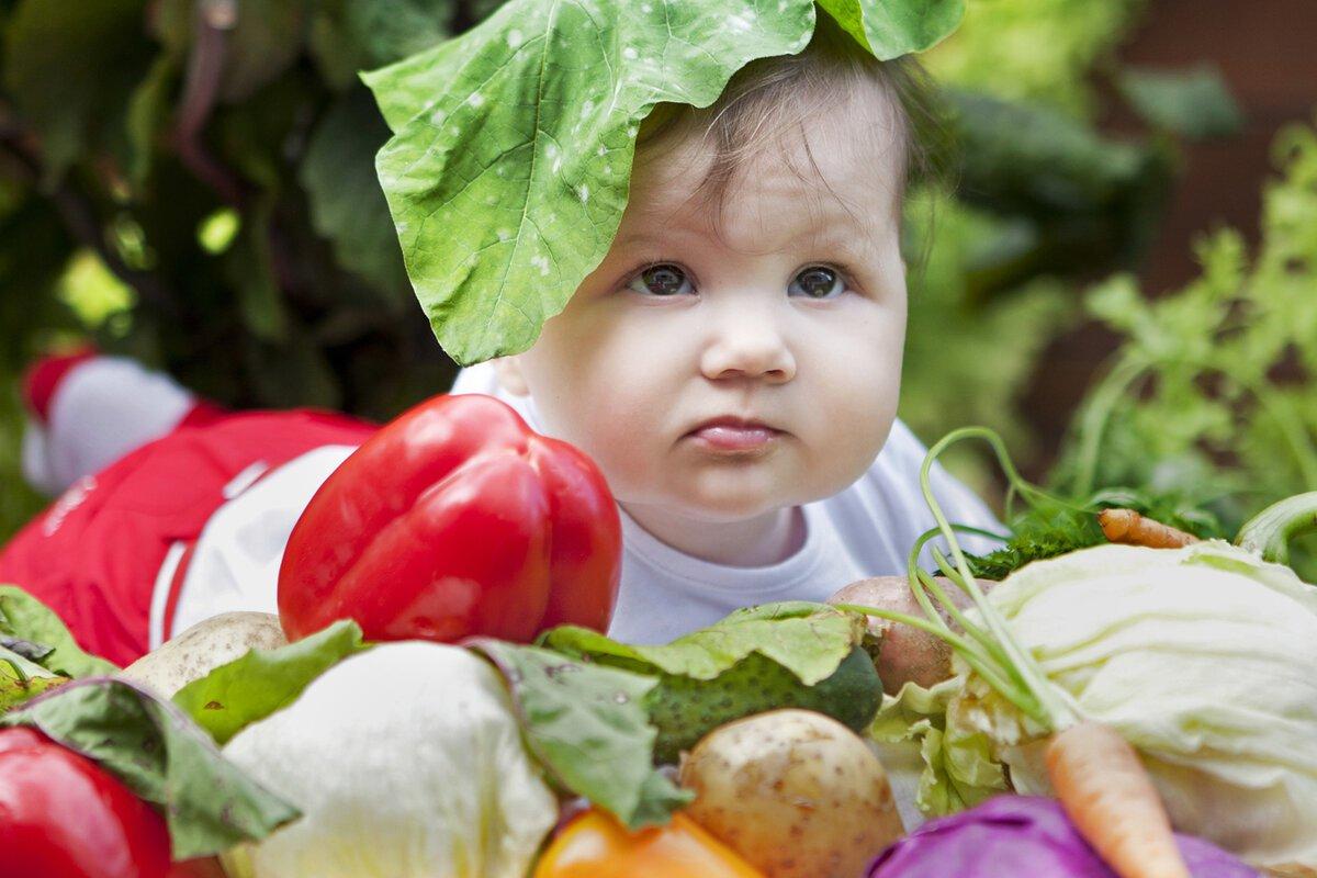 Маленький ребенок среди овощей